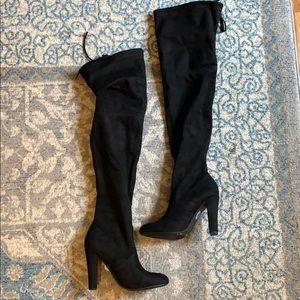Black over the knee high heel boots